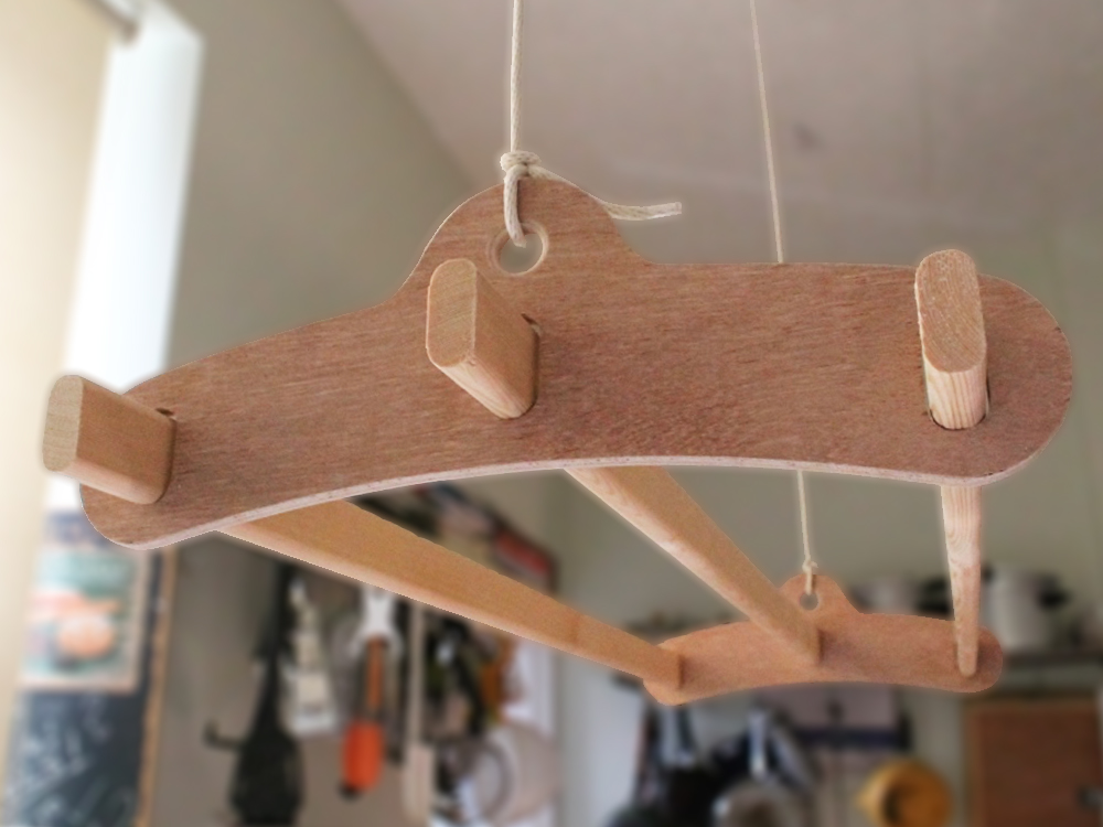 3 Lath Wooden Hanging Clothes Drying Rack Or Pot Rack